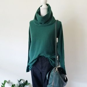 Vince Green Cowl Neck Cashmere Cowl Neck Sweater